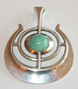 'Bjørn's Ship of Good Fortune', pendant by Bjørn Sigurd Østern, silver with Amazonite, 1964.