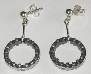 Earrings, silver, 1960s.