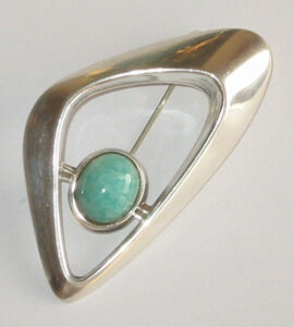 Brooch,'Sørby's Arch'silver with Amazonitethe 'Troll Series', 1964.