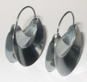 Earringsthe 'Henne (Her) series', oxidized silver, 1992.