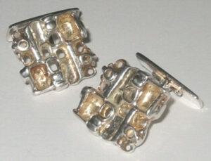 Cufflinks, silver'Tundra Series', 1960s.