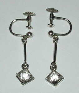 Earrings, 1940ssilver with Rock Chrystals.