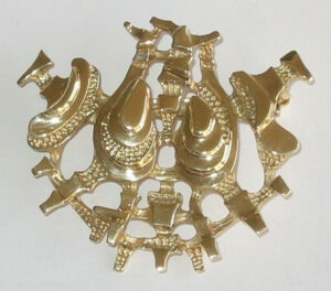Brooch/pendant, late 1970sGold, limited and numbered edition.