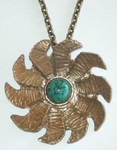 Pendant, 1970s Bronze with Eilat stone.