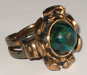 Ring, 1970s Bronze with Eilat stone.