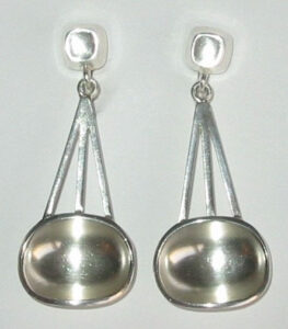 'Bowl and Cube', 1953Silver earrings by Sigurd Persson for Atelje Stigbert.