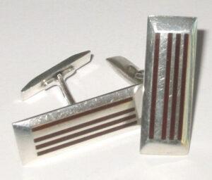 Cufflinks 'Stripe', 1960s Silver with enamel.