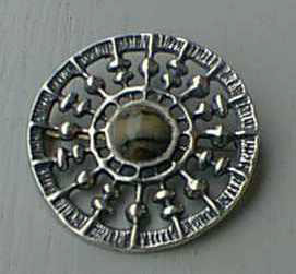 'Unn's Sun Chariot', brooch/pendant by Unn Tangerud, silver with Mylonite, 1964.